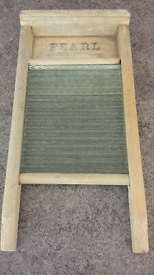 43cm small size WOOD & GLASS WASH BOARD CLOTHES SCRUBBER WASHER pre-owned