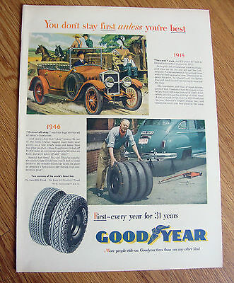 1946 Goodyear Tires Ad 1915 1946 Automobiles  Ford Chevrolet Plymouth ?