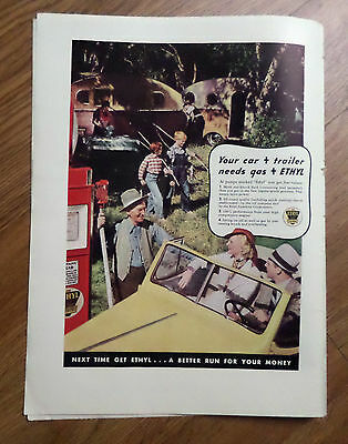 1937 Ethyl Gasoline Ad Fishing Camping Trailer Theme