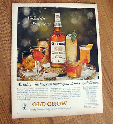 1963 Old Crow Whiskey Ad  Versatile Delicious
