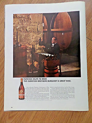 1964 Christian Brothers Burgundy Wine Ad Brother Timothy Cellarmaster