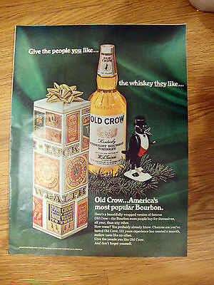 1966 Old Crow Whiskey Ad  Christmas Theme