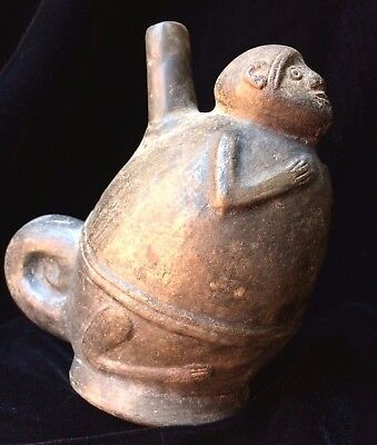 Pre-Columbian Moche Ceramic Monkey Grayware Vessel ancient Peru