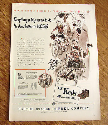 1946 U S Keds Shoes Ad Everything a Boy Wants to Do Does Better in KEDS