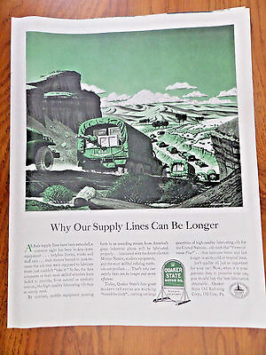 1943 Quaker State Motor Oil Ad WW II Theme Why Our Supply Lines can be Longer