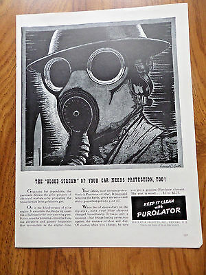 1941 Purolator Ad  The Blood-Stream of Your Car Needs Protection Too