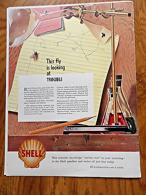 1942 Shell Oil Ad  This Fly is looking at Trouble
