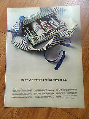 1966 Gillette Shaving Ad Vacation Travel Kit Enought to Make a Father Leave Home