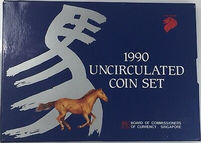 1990 Uncirculated Coin Set! Year Of The Horse! Singapore! Us Coin Lot #707B