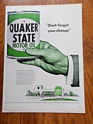 1950 Quaker State Motor Oil Ad Service Station Theme Don't Forget your Change