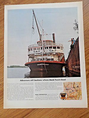 1962 Ethyl Gasoline Ad River Queen Paddle Wheel Boat to Hannibal Missouri