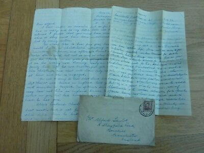 Ww2 1943 2 X Original Letters N Zealand To Uk Re Death Sgt Lewis Warren 149 Sqn