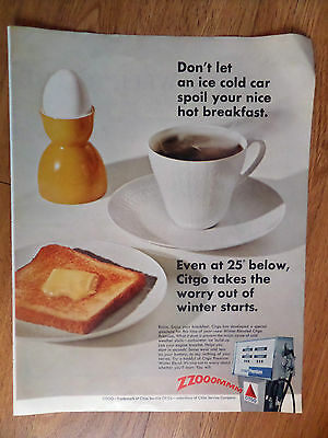 1967 Citgo Oil Gas Ad  Don't Let An Ice Cold Car Spoil your Hot Breakfast