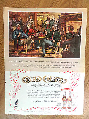 1954 Old Crow Whiskey Ad Col. Crow Visits Watkins Travern Versailles Kentucky