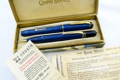 New Old Stock Conway Stewart Dinkie 540 Blue Moire Fountain Pen & Pencil Set