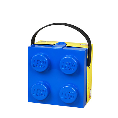 LEGO Lunch Box Food Storage Container With Handle Blue Plastic Snack Brick NEW