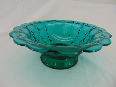 """Vintage Tiara Glass Constellation 11"""" Green Console Footed Bowl"""