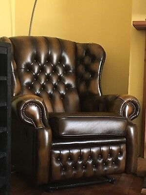 Chesterfield Recliner Arm Leather Monk High Back Chair By Saxon. VGC