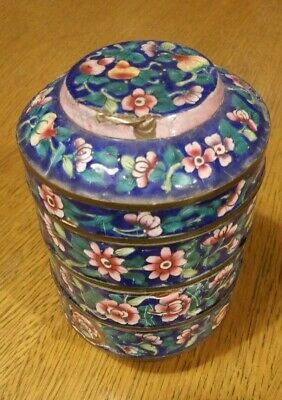 Antique Chinese Anamel Three Layer Box, Scenic Blue Flower Print. Hand Painted