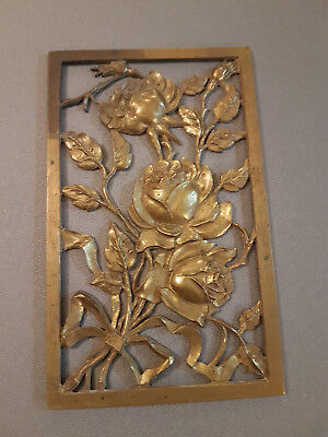 Plakette,Antik,Blumen,Messing/Bronze? 9x15cm