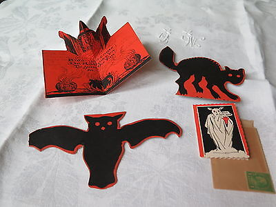 Vtg Antique Halloween Collection Witch Pop Up Card Ghost Invitations Menu Cards