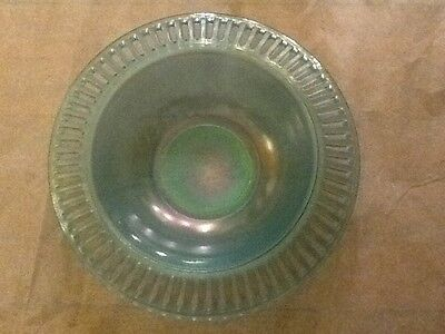 US Glass Blue STRETCH GLASS BOWL OPEN Work Flared Vintage