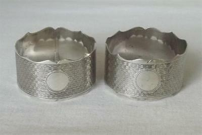 A Stunning Pair Of Solid Sterling Silver Napkin Rings Birmingham 1933.