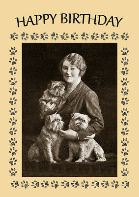 Brussels Griffon Three Dogs And Lady Dog Birthday Greetings Note Card