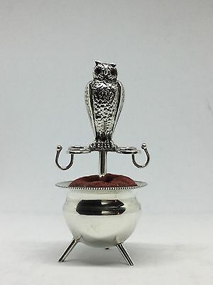Rare Solid Silver Owl On Couldron Pin Cushion - Mappin & Webb