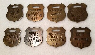 8 Brass Ranger Detective Firearms Inspector Shields Tool Gun Check Watch Key Fob