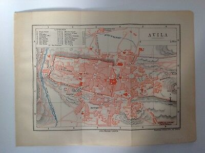 Avila, Town Plan, Spain, 1892 Antique Map, Murray's Original