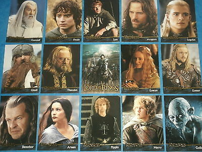 The Lord Of The Rings 'THE RETURN OF THE KING' Base Set Of Trading Cards Hobbits