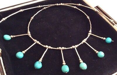 Vintage Jewellery Lovely Sterling Silver & Real Turquoise Pendant Drop Necklace