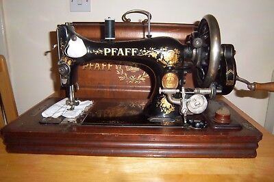 Vintage Pfaff Hand Crank Sewing Machine With Case.