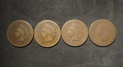 (4) Indian Head Cents 1¢- BETTER DATES- 1872, 1873, 1874, 1875- Circ