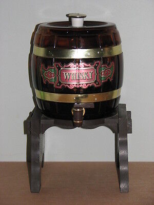 Vintage Brown Glass Whisky Barrel Decanter with Stand Lid & Spigot Tap