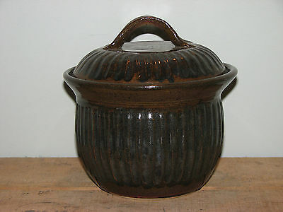 Handcrafted Pottery Pot with Lid Dark Brown Bluey Grey Ribbed Applied Handle