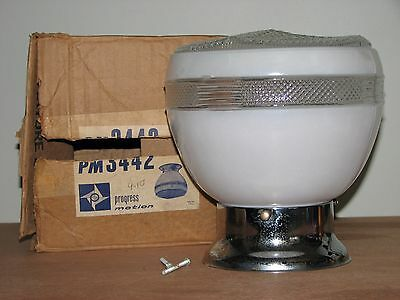 Vntage Art Deco Clear and White Glass Light Fixture w Chrome Ceiling Mount