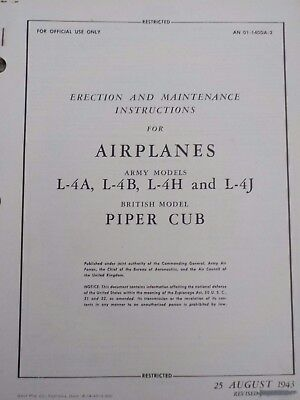 Technical Orders Erection Maintenance Airplanes L-4A -B -H -J Piper Cub Aircraft