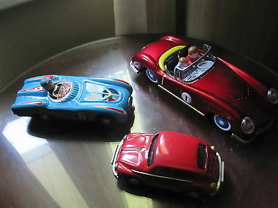 3 Older Vintage Chinese Friction Toy Cars With Boxes-Mf 763 *mf 800 *mf 146