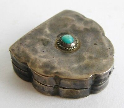 Fine Vintage Mexican Taxco Sterling Silver Turquoise Trinket Pill Box