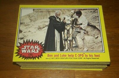 1977 Topps Star Wars Complete 66-Card 3rd Yellow Series Set #133-198