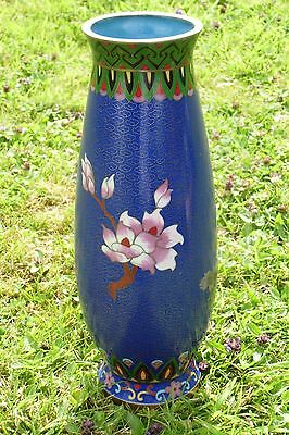 beautiful cloissone vase  decorated with peacocks and flowers