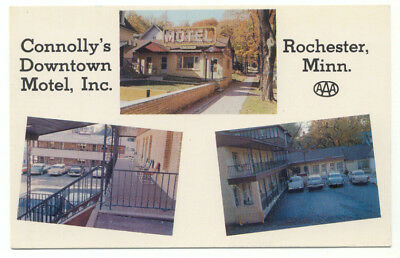 Rochester MN Connolly's Downtown Motel Inc. Old Cars Postcard - Minnesota