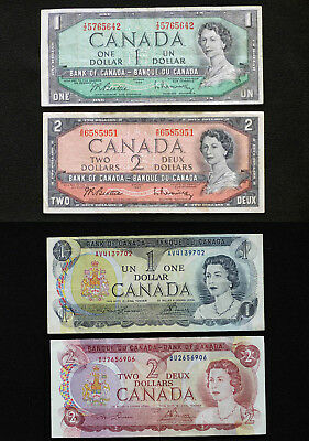 1954 BANK of CANADA $1 and $2, 1973 $1 and 1974 $2