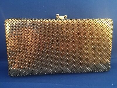 Rare NOS Vintage Whiting and Davis Gold Mesh 5 Section Clutch Wallet