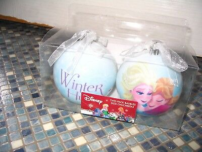 Disney Frozen Christmas Baubles Winter Hugs Anna & Elsa Brand New