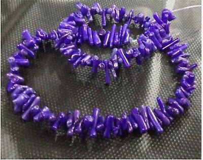 Natural Purple Coral Gemstone Chip Loose Beads 15""