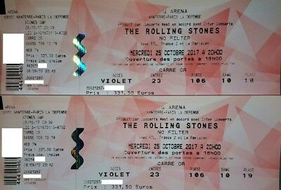 ROLLING STONES 2 Places CARRE OR le 25 Oct. Arena Nanterre + FACTURE 663€