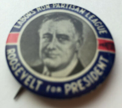 President Roosevelt Fdr Political Campaign Photo Labor League Button/pinback '36